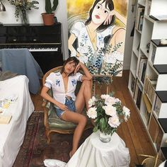 """oh-dahling: """"Jeanne ♥️ """" Jeanne Damas, French Girl Style, French Girls, Love Style Life, Girl Trends, Parisian Chic, Front Tie Top, Mode Style, Photos"""