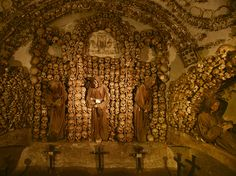 "An elaborate homage to the dead—and a reminder of mortality to the living—adorns a crypt under Santa Maria della Concezione church in Rome. These macabre ornamentations, constructed from the bones of 4,000 deceased Capuchin friars, ""make the people who stacked the bones in Paris's catacombs look like amateurs,"" according to one observer. Photograph by Stephen Alvarez, October 31, 2014"