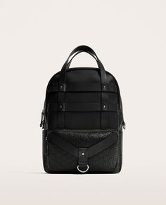 Image 1 of BLACK BACKPACK WITH STRIPS DETAIL from Zara