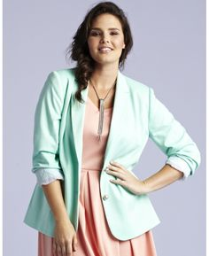 "Heavy Jersey Blazer Jacket in ""Menthol"" from Simply Be.  Plus size."