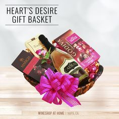 Only a month til Valentine's Day!  Think pink and give your heart's desire a gift that will make their Valentine's Day truly sparkle. This basket features chocolate treats and a bottle of our le Cadeau California Rosé Sparkling Wine.