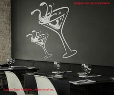 Vinyl Wall Decal Sticker Martini Glass Item #OS_MB125 | Stickerbrand wall art decals, wall graphics and wall murals.