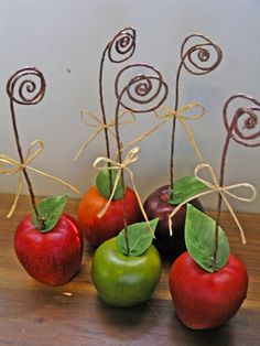 Apple Wedding Table Number Holders, Fall Wedding Decor. It would be cute to put pictures of the couple in here!