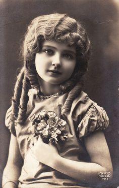 1910s...Beautiful Little Girl...Ringlets...Flowers...original vintage french postcard