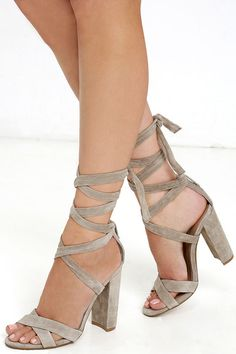 Posh and spicy all in one, the Steve Madden Christey Taupe Suede Leather Lace-Up Heels is our dream-come-true! Suede leather crisscrossing toe straps sit below long straps that wrap and tie above the ankle.