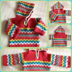 Crochet Hoodies Crochet Leaping stitch Baby Hoodie in Cath Kidston colours - The Leaping Crochet Baby Hoodie is an easy unisex crochet pullover sweater pattern! Includes sizes 6 months to Crochet Baby Sweaters, Crochet Baby Clothes, Baby Blanket Crochet, Baby Knitting, Gilet Crochet, Crochet Hoodie, Knit Or Crochet, Crochet Bebe, Crochet For Boys