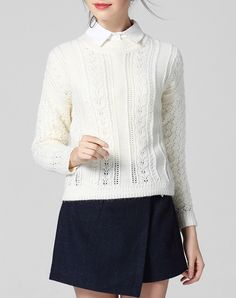 #AdoreWe #VIPme Sweaters & Cardigans - wei guo yue White Grew Neck Long Sleeve Knitted Sweater - AdoreWe.com