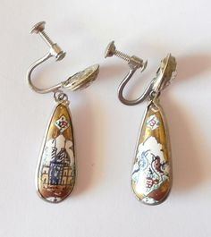 Middle Eastern, Mina, Hand Painted , Gold Enamel, Screw Back Vintage Earrings.    Metal Composition: Silver Tone seems to be silver Makers Mark/Stamp: No