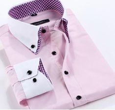 HisandHerFashion Long-Sleeved 100% Cotton Contrast Collar Chic Men Shirt