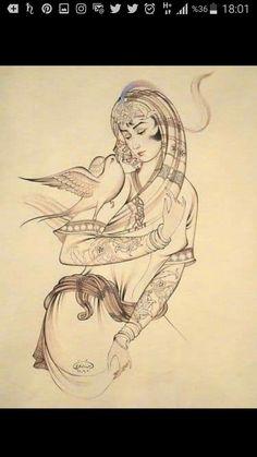 Art Village, Devin Art, Middle Eastern Art, Iranian Art, Turkish Art, Beautiful Fantasy Art, Krishna Art, Indian Paintings, Bird Art