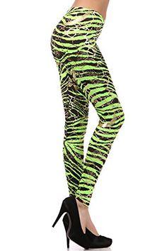 4bd83c19297 Neon Metallic Animal Zebra Print Leggings w  Gold Accents Pants Zebra  Leggings