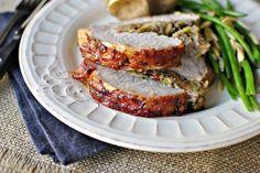 Stuffed Pork Roast with Raspberry Balsamic Glaze
