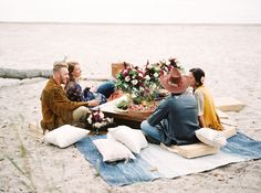 Beach anniversary picnic with friends