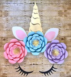 Who doesn't love a sweet unicorn face with a GIANT 22inch horn? A perfect set to add to your unicorn theme, unicorn flower decorations and overall unicorn party theme. This listing is for the Ears, Horn and Eyelashes only. Can be made to order in any colors you'd like and