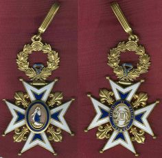 Spain Order of Charles III Grand Cross/Grand Officer badge, very early type from crica 1860s in gold and enamel