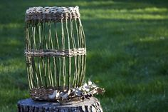 Holly and Ivy Basket. Open weave.