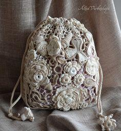 Tasche Beutel Tasche Irish Crochet Spitze Boho Retro von AlisaSonya