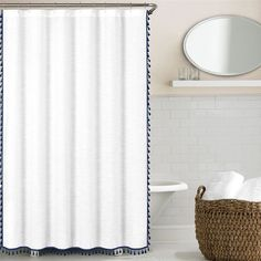 add a simple elegance to your loo with this 100percent cotton shower curtain in