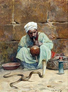 The Snake Charmer By Charles Wilda , Austrian, 1854-1907 watercolor . 22cm x 16.5cm