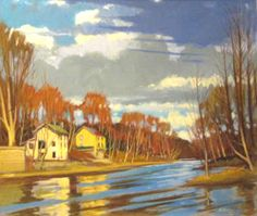 """Wyalusing Creek at Stevensville"" oil painting by Brian Keeler of West End Gallery - Corning, NY. See more paintings by Brian Keeler here: http://www.westendgallery.net/photo-gallery/Artist-Gallery-Brian-Keeler"