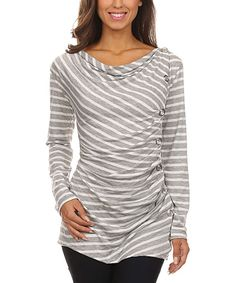 Look at this J-Mode USA Los Angeles Gray & White Stripe Button-Ruched Drape Neck Top on #zulily today!