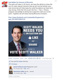 Scott Walker Facebook post day before recall election