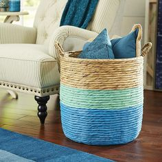 Blue and Mint Color Dipped Rattan Storage Basket - Could DIY this!