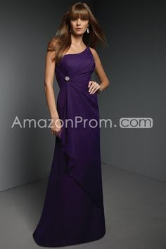 Concise A-Line One-Shoulder Floor-length Bridesmaid Dresses