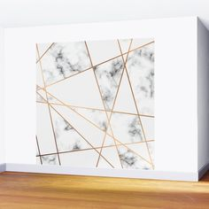 White, Gray, Gold Marble Geometric Pattern Wall Mural by Rose Gold - X Marble Sheets, 3d Wall Decor, Tv Wall Design, Gold Marble, Wall Patterns, Fabric Panels, Wall Murals, Geometry, Vibrant Colors