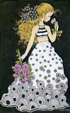 Sarah Kay Sarah Key, Sara Key Imagenes, Zentangle, Coloring Books, Coloring Pages, Illustrations, Illustration Art, Retro Images, Retro Pictures