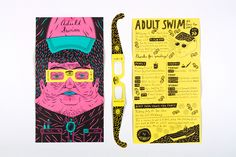 The Adult Swim Comic-Con booth was designed to be seen through Polarized 3d glasses, which make more saturated colors seem closer, and seem to make less saturated colors recede. The brochure was given out to visitors, and was meant to function as a way to…