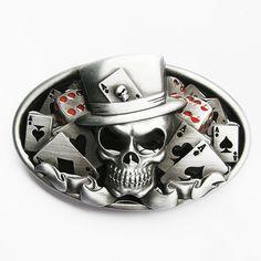 Poker | Dice Skull Tattoo Poker Casino Belt Buckle