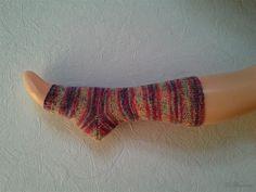 Yoga Socken hand gestrickt, gestreift bunt lila pink, tanzen, Pilates, Pediküre, mit Ferse von LiMariann auf Etsy