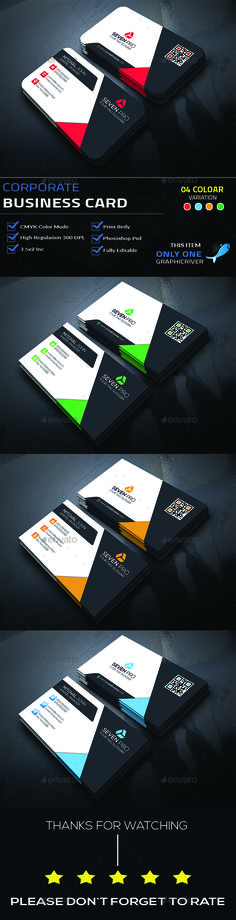 Corporate Business Card by see_art This is Corporate Business Card . This Card download contains 300 dpi print-ready CMYK 08 psd files. All main elements are editabl