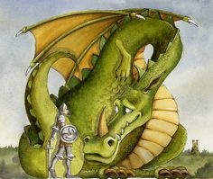 'dragon knight' by Nina Rycroft. A water colour illustration I did for the front cover of a book called Sir Joshua and the Unprofessional Dragon. This image was not used on the final front coverI still like it though. Magical Creatures, Fantasy Creatures, Fantasy Dragon, Fantasy Art, Big Dragon, Green Dragon, Dragon Dreaming, Dragon's Lair, Dragon Images