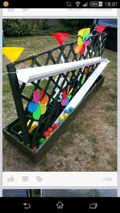 Great cause and effect, and sensory activity. Great cause and effect, and sensory activity. Ball alley Best Picture For Outdoor play areas daycare Outdoor Learning Spaces, Kids Outdoor Play, Outdoor Play Areas, Backyard For Kids, Outdoor Fun, Preschool Playground, Backyard Playground, Playground Ideas, Sensory Activities