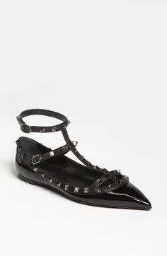 Valentino 'Noir Rockstud' Cage Flat. // Rockstud with a modern gladiator strap with a ground level heel makes this face smile knowing flats can kick up a storm all night long!
