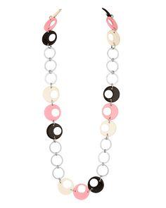 Pink, Black Bead Loop Necklace