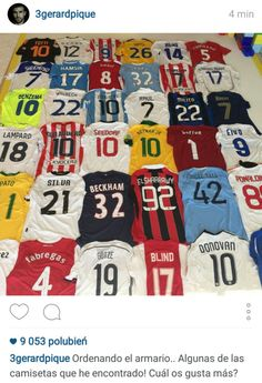 When he's not collecting silverware with Barcelona, Gerard Pique has been amassing one of the most impressive shirt collections ever seen in world football. World Football, Football Kits, Brazil Team, Kun Aguero, Lionel Messi, Fc Barcelona, Twitter, Beckham, Cool Shirts