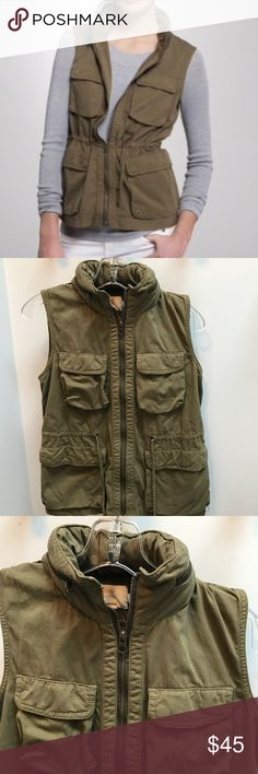 """J.Crew Classic Twill Chino Vest With Hood Army green brand new condition. There is a hood zipped in the collar  100% cotton Weathered & Broken In         Length is 24""""  under the arms across flat and zippered is 18"""" J. Crew Jackets & Coats Vests"""