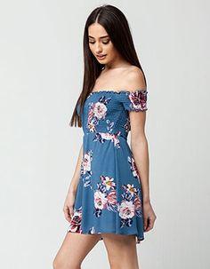 GYPSIES & MOONDUST Smocked Floral Dress Turquoise