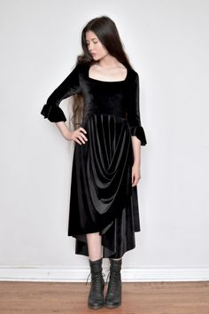 9d00292acdf Pastorale Dress w Half Sleeve in Black Velvet