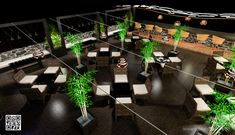 Terrace restaurant design-tension wires to make space column free to install fixtures