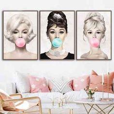 Female Film Star Actress Bubble Gum Wall Art Canvas Fashion Posters Brigitte Bardot Prints Painting Pictures Home Decoration Audrey Hepburn Poster, Audrey Hepburn Decor, Canvas Wall Art, Wall Art Prints, Poster Prints, Canvas Prints, Canvas Paintings, Brigitte Bardot, Bridget Bardot