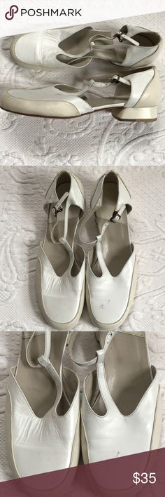 d90704fd1 white and cream Mary Jane shoes . Giorgio Armani White and cream leather T  strap Mary
