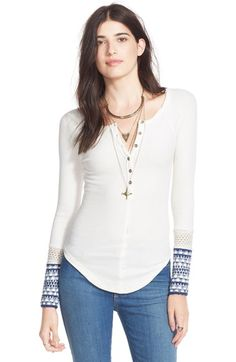 Free shipping and returns on Free People 'Newbie' Ski Lodge Cuff Thermal Top at Nordstrom.com. A slim raglan-sleeve thermal with a henley neckline and contrast-knit cuffs puts a fun, flirty spin on an après-ski staple.