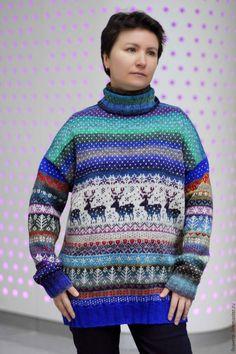 Купить Женский свитер с оленями. - комбинированный, орнамент, норо, noro, свитер с оленями, вязаный свитер