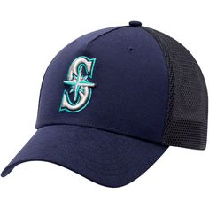 Men's Seattle Mariners Under Armour Navy Twist Closer Trucker Performance Adjustable Hat