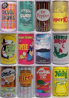 FuckYeahVintage-Retro — Soda cans produced between @ Vintage Packaging, Vintage Labels, Food Packaging, Vintage Ads, Vintage Designs, Vintage Food, Brand Packaging, Vintage Stuff, Retro Recipes