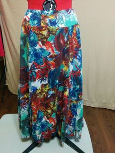 SALE! Always FREE SHIPPING! Full Skirt Crinkle Cotton Laura Scott Size Large Abstract Tropical Print    eBay